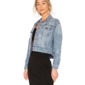 NWT JOIE Cropped Denim Jacket w/Crystal Brooch Pin